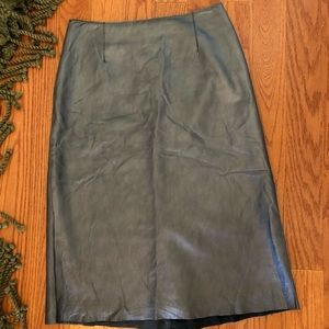 BCBG MaxAzria metallic gray leather midi skirt
